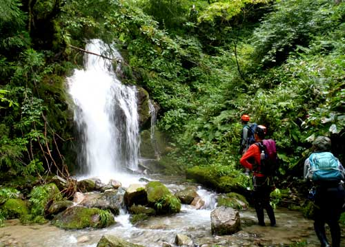 2020年8月16日 太平山地の篭沢を遡行して馬場目岳へ。